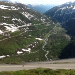 Looking down the amazing Furka Pass from the Belvedere