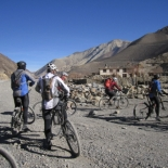 Rolling out of Jomsom on an acclimatisation ride